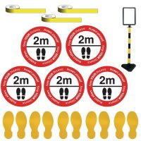 Social Distancing - Sign Holder & Yellow Floor Marking Kit