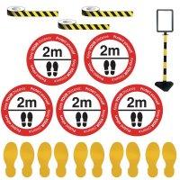 Social Distancing - Sign Holder & Stripe Floor Marking Kit