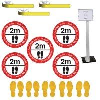 Social Distancing - Information Sign & Yellow Floor Marking Kit