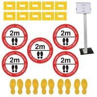 Social Distancing - Information Sign & Corner Floor Marking Kit