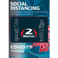 Social Distancing - Please Maintain A Distance Of 2 Metres Sign (Blue)