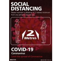 Social Distancing - Please Maintain A Distance Of 2 Metres Sign (Black & Red)