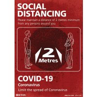 Social Distancing - Please Maintain A Distance Of 2 Metres Sign (Red)