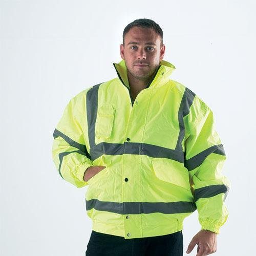 HIGH VISIBILITY FLUORESCENT YELLOW BOMBER JACKET - High Visibility Clothing