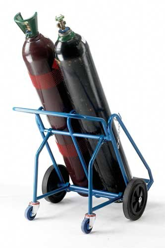 EPOXY POWDER-COATED CYLINDER TRUCK WITH SECURING CHAINS - Cylinder Storage & Handling