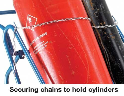 Epoxy Powder-Coated Cylinder Truck with Securing Chains