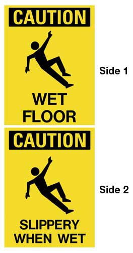 Durable double-sided dual-message floor stands - CLEANING PRODUCTS