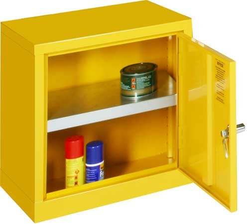 Bright yellow mini storage cabinets for flammable liquids - COSHH Control