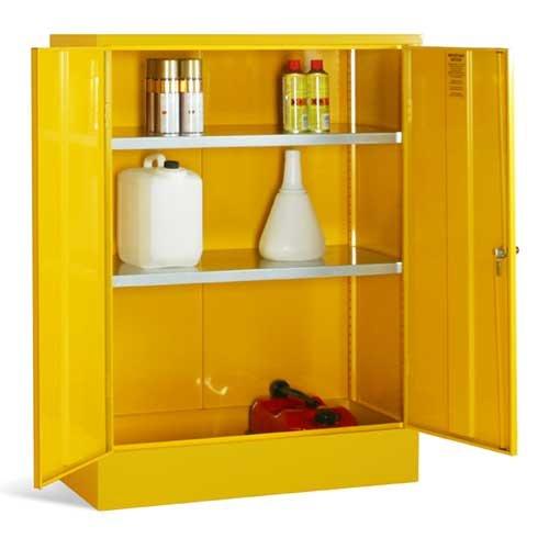 Bright yellow mini storage cabinets for flammable liquids