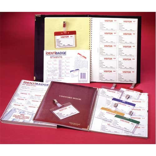 Visitor Registration Book with Duplicate Identification Badge Inserts - Security