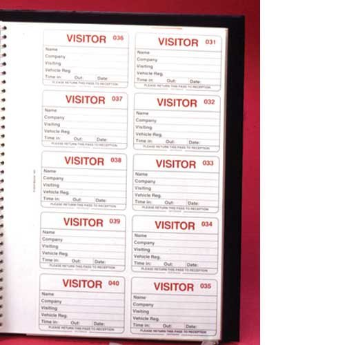 Visitor Registration Book with Duplicate Identification Badge Inserts - ID BADGES, VISITOR MANAGEMENT & ACCESSORIES