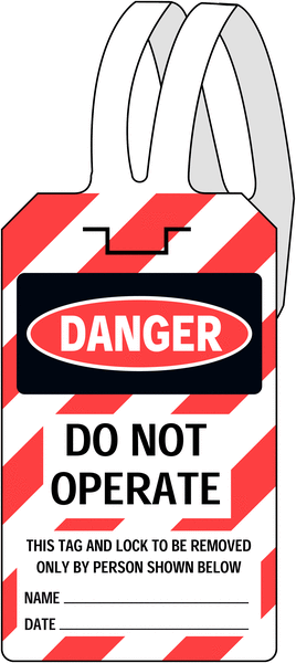 Danger do not operate' self-fastening safety tag