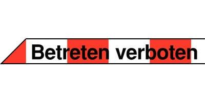 Absperrband rot weiß mit Textaufdruck Betreten verboten