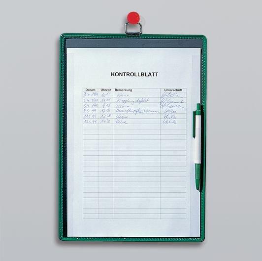 Sichttafeln – Spezial, Kontrollblatt-Halter mit Kugelschreiber