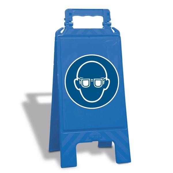 Augenschutz benutzen - Warnaufsteller mit Sicherheitssymbolen, EN ISO 7010