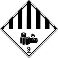 Lithiumbatterien 9A - Aufkleber für den Transport gefährlicher Güter GGVSEB, ADR, RID, IMDG, GGVSee, ADN