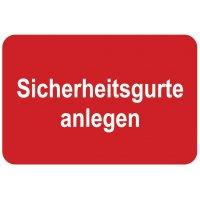 Sicherheitsgurte anlegen – Aufkleber zur Fahrzeugkennzeichnung