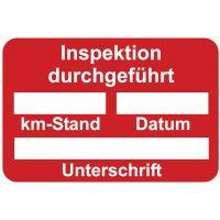 Inspektion durchgeführt – Aufkleber zur Fahrzeugkennzeichnung