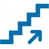 Treppe hoch - Piktogramm aus Folie, selbstklebend,  ISO 7001