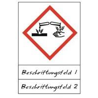 Ätzwirkung - Gefahrstoffsymbole mit Schutzlaminat, Beschriftungsfeld,  GHS/CLP