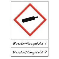 Gasflasche - Gefahrstoffsymbole mit Schutzlaminat, Beschriftungsfeld,  GHS/CLP