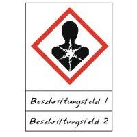 Gesundheitsgefahr - Gefahrstoffsymbole mit Schutzlaminat, Beschriftungsfeld,  GHS/CLP