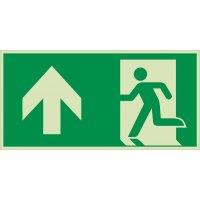 XTRA-GLO Notausgang linksweisend oben - Rettungszeichen Kombischilder, EN ISO 7010