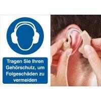 Gehörschutz benutzen – Symbolschilder Prävention