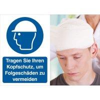 Kopfschutz benutzen – Symbolschilder Prävention