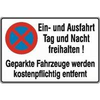 Ein- und Ausfahrt freihalten/absolutes Haltverbot mit Abschlepphinweis - Parkverbots-Zusatzschilder