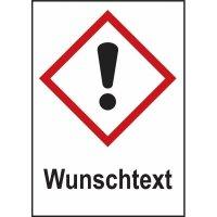 Gefahrstoffsymbol-Kombi-Kennzeichnung mit Text nach Wunsch, gemäß GHS/CLP-Verordnung