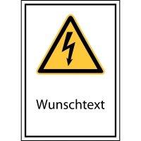 Kombi-Schilder mit Sicherheitszeichen, Elektrotechnik - Symbol und Text nach Wunsch