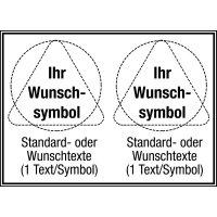 Mehrsymbolschilder mit 2 Symbolen und Text nach Wunsch, ASR A1.3-2007 und DIN 4844-2001