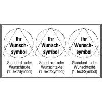 Mehrsymbolschilder mit 3 Symbolen und Text nach Wunsch, ASR A1.3-2007 und DIN 4844-2001