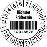 Prüfplaketten mit Barcode -