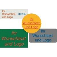 Rollen-Etiketten mit Text und Logo nach Wunsch, rechteckig, Polyesterfolie, wetterfest