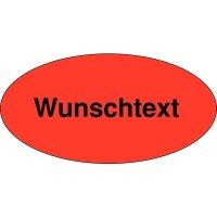 Rollen-Etiketten mit Text nach Wunsch, oval, Papier, fluoreszierend