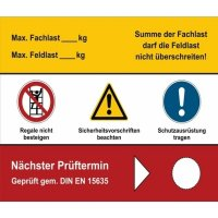 Schilder zur Regal-Prüfung mit Text nach Wunsch, DIN EN 15635