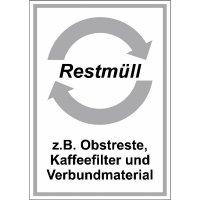 System-Wertstoff-Kombi-Schilder mit Pfeilfarbe und Text nach Wunsch