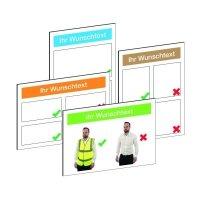 Verhaltensregeln-Schilder Sicherheits-Unterweisung, Richtiges / Falsches Verhalten am Arbeitsplatz, individuell