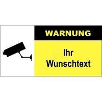 Videoüberwachungs-Warnschilder mit Text nach Wunsch