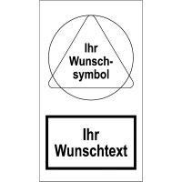 Warnaufsteller mit Symbol Warnung, Verbot / Gebot und Text nach Wunsch, massiv