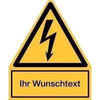 Warnsymbol-Kombi-Schilder, Elektrotechnik - Warnung vor elektr. Spannung mit Wunschtext