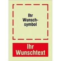 XTRA-GLO Brandschutzzeichen mit Symbol und Text nach Wunsch