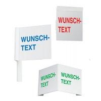 Decken-, Fahnen- und Winkelschilder mit Text nach Wunsch zur Gebäudekennzeichnung