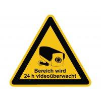 Bereich wird 24 h videoüberwacht - Videokennzeichnung im Warn-Design