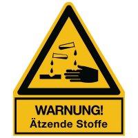 Warnung vor ätzenden Stoffen - Warnsymbol-Kombischilder für Gefahrstoffe
