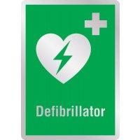 Defibrillator - Erste-Hilfe-Schilder in Metall-Optik, EN ISO 7010
