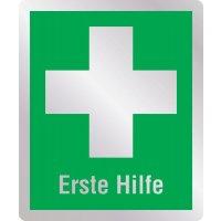 Erste Hilfe - Erste-Hilfe-Schilder in Metall-Optik, EN ISO 7010