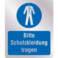 Bitte Schutzkleidung tragen - Hygiene-Schilder, Metall-Optik
